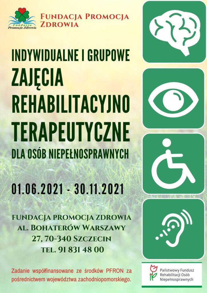 """Plakat - Indywidualne i grupowe zajęcia rehabilitacyjno-terapeutyczne dla osób niepełnosprawnych w Ośrodku """"Koniczynka"""" Fundacji Promocja Zdrowia"""